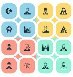 Set of simple religion icons elements chaplain vector