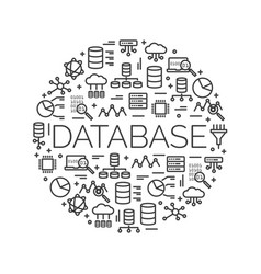 The word database surrounded by icons vector