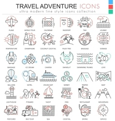 Travel adventures ultra modern outline line vector image vector image