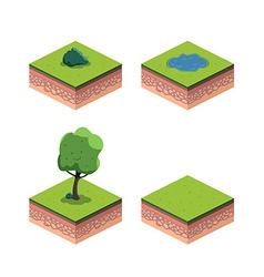 Tree isometric ground lake bush vector image vector image