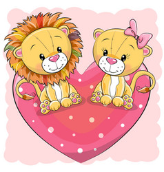 Two cute lions is sitting on a heart vector