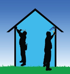 workers repair the house vector image vector image