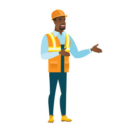 young african-american happy builder gesturing vector image