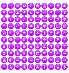 100 scenery icons set purple vector image vector image