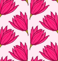 Big pink flower on solid pink vector