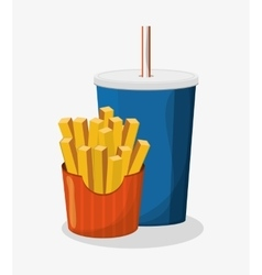 French fries and soda design vector