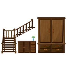 A stair and wooden furnitures vector