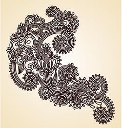 Original hand draw line art ornate flower design vector