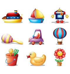 Different kinds of toys vector