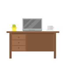 Office empty workplace with laptop on wood table vector
