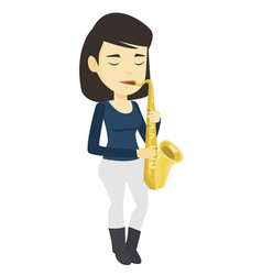 Musician playing on saxophone vector