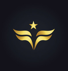 Gold wing star america logo vector