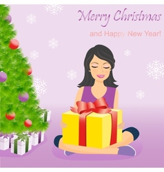 Happy girl with gift box near christmas tree vector
