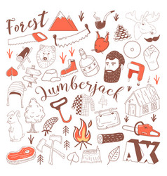 hand drawn lumberjack doodle freehand vector image
