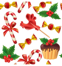 Seamless pattern of new year sweets vector