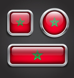 Morocco flag glass buttons vector