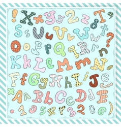 Hand drawn cute letters numbers and symbols vector