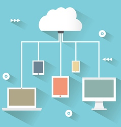 Flat design concept of cloud service vector