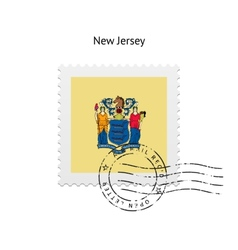 State of new jersey flag postage stamp vector