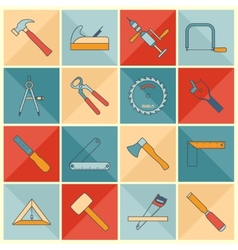 Carpentry tools flat line icons vector