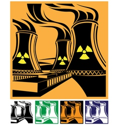 Nuclear power station set vector