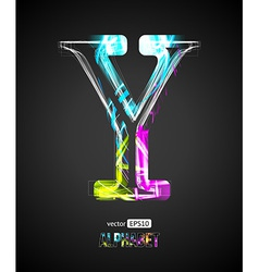 Design light effect alphabet letter y vector