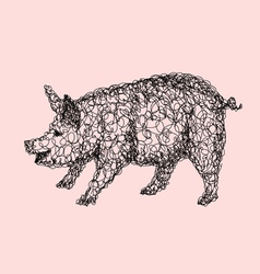Pig abstract artistic lines vector