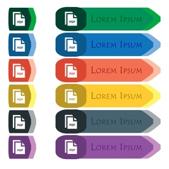 File pdf icon sign set of colorful bright long vector