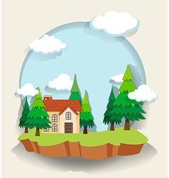 Single house in the forest vector