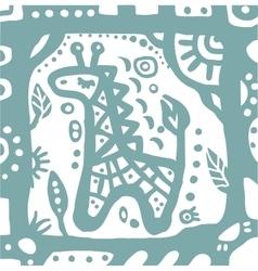 blue baby giraffe in cute frame vector image