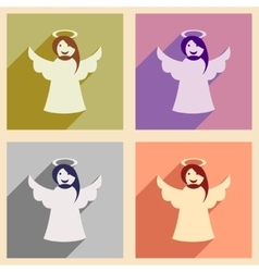 Set of flat icons with long shadow christmas angel vector