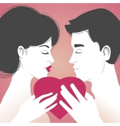 Young couple with heart on pink background vector