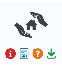 House insurance sign icon hands protect cover vector