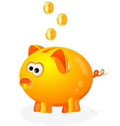 Piggy bank with coins background vector
