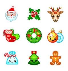 Kawaii christmas icons vector