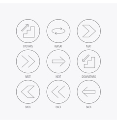 Arrows icons upstairs repeat linear signs vector