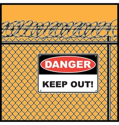 Fence and barbed wire vector