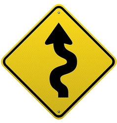 Winding road sign on white background vector
