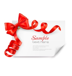 Card with red bow and ribbons vector