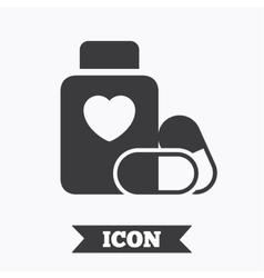 Medical heart pills bottle sign icon drugs vector