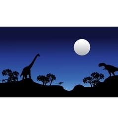 Beautiful scenery at night dinosaur vector