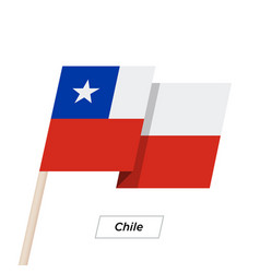 Chile ribbon waving flag isolated on white vector