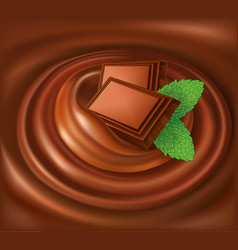 chocolate background swirl with mint leaf vector image vector image