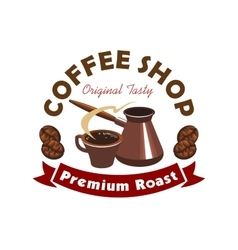 Coffee shop or cafe symbol cartoon style vector image