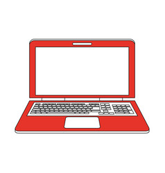Color silhouette image red laptop computer tech vector