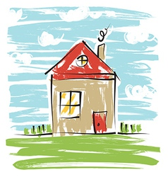 Colorful house kids drawing vector image