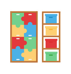 Comfortable cupboard cabinet baby room decor vector