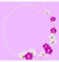 Delicate frame with orchid flowers and pearls on vector