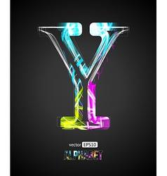 Design light effect alphabet letter y vector