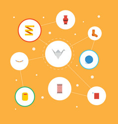 Flat icons paper figure meter jewelry and other vector